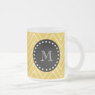 Yellow Chevron Pattern   Black Monogram Frosted Glass Coffee Mug