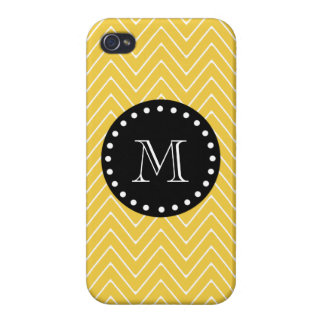 Yellow Chevron Pattern Black Monogram iPhone 4/4S Case