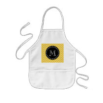 Yellow Chevron Pattern | Black Monogram Kids' Apron