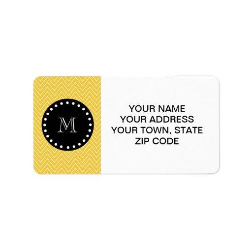 Yellow Chevron Pattern | Black Monogram Labels