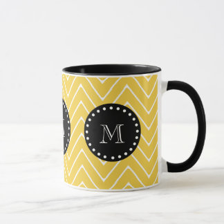 Yellow Chevron Pattern | Black Monogram Mug