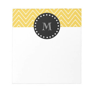 Yellow Chevron Pattern | Black Monogram Note Pad