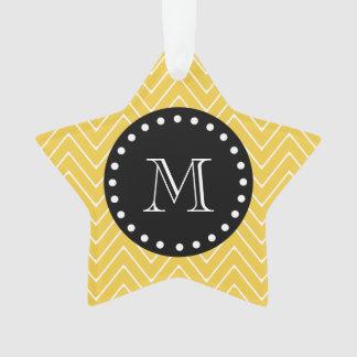 Yellow Chevron Pattern | Black Monogram Ornament