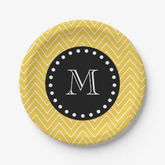 Yellow Chevron Pattern | Black Monogram Paper Plate