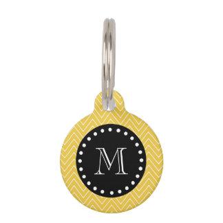 Yellow Chevron Pattern | Black Monogram Pet ID Tag