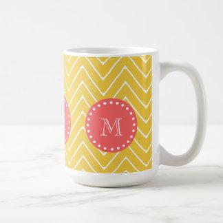 Yellow Chevron Pattern | Coral Monogram Coffee Mug
