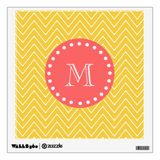 Coral Chevron Wall Decals Wall Stickers Zazzle - Coral monogram wall decal