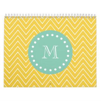 Yellow Chevron Pattern | Mint Green Monogram Calendars