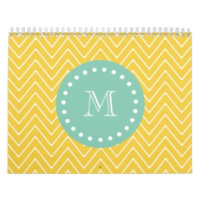 Yellow Chevron Pattern   Mint Green Monogram Calendars