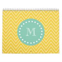 Yellow Chevron Pattern | Mint Green Monogram Calendar