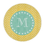 Yellow Chevron Pattern | Mint Green Monogram Cutting Board
