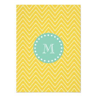 Yellow Chevron Pattern | Mint Green Monogram 5.5x7.5 Paper Invitation Card