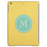 Yellow Chevron Pattern   Mint Green Monogram iPad Air Cover