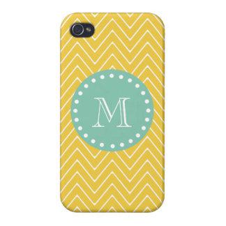 Yellow Chevron Pattern Mint Green Monogram iPhone 4/4S Cases