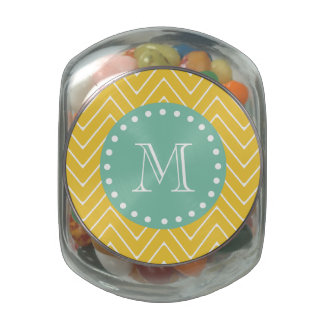 Yellow Chevron Pattern | Mint Green Monogram Jelly Belly Candy Jars