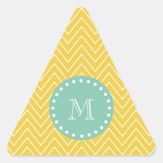 Yellow Chevron Pattern   Mint Green Monogram Triangle Sticker