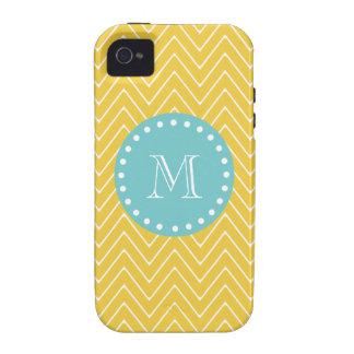 Yellow Chevron Pattern Teal Monogram iPhone 4 Case
