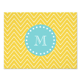 Yellow Chevron Pattern | Teal Monogram 4.25x5.5 Paper Invitation Card