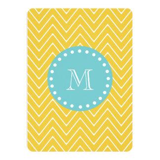 Yellow Chevron Pattern | Teal Monogram 5.5x7.5 Paper Invitation Card