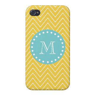 Yellow Chevron Pattern Teal Monogram iPhone 4 Cases