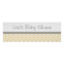 Yellow Chevron Personalized Banner Poster