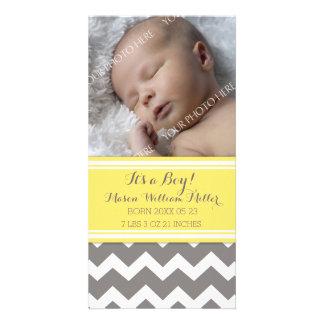 Yellow Chevron Photo New Baby Birth Announcement