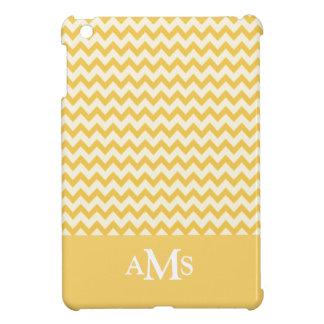 Yellow  Chevron Stripe 3  Monogram iPad Mini Covers