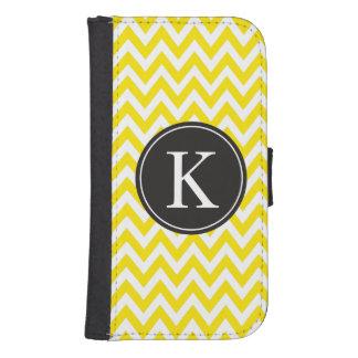 Yellow Chevron Stripe Pattern Custom Monogram Phone Wallet Case