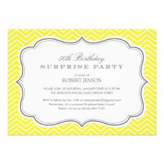 Yellow Chevron Stripes Surprise Party Invitations