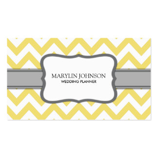 Yellow Chevron Wedding Planner Double-Sided Standard Business Cards (Pack Of 100)
