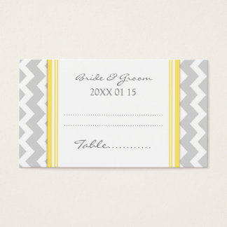 Yellow Chevron Wedding Table Place Setting Cards