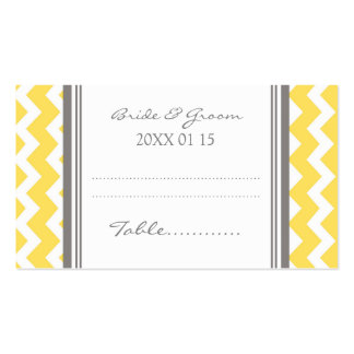 Yellow Chevron Wedding Table Place Setting Cards Double-Sided Standard Business Cards (Pack Of 100)