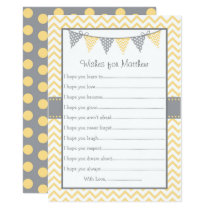 Yellow Chevron Wishes for Baby Card
