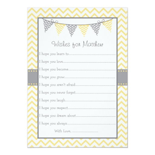 Yellow Chevron Wishes for Baby Cards