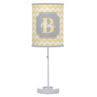 Yellow Chevron with Grey Frame Name and Initial Table Lamp