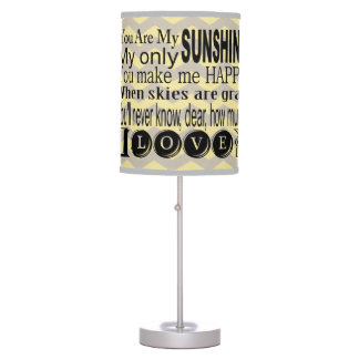 Yellow Chevron  You Are My Sunshine Table Lamp