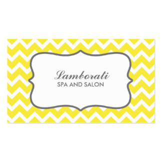 Yellow Chevron Zig Zag Pattern Fashion Designer Double-Sided Standard Business Cards (Pack Of 100)