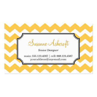 Yellow chevron zigzag pattern stylish personal Double-Sided standard business cards (Pack of 100)