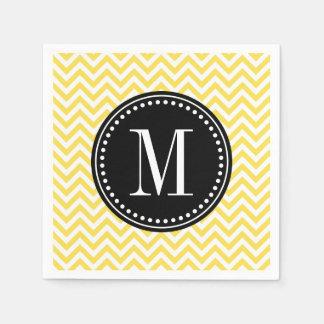 Yellow Chevron Zigzag Personalized Monogram Paper Napkin