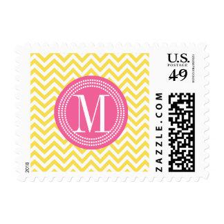 Yellow Chevron Zigzag Personalized Monogram Stamp