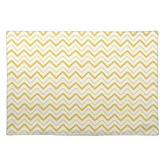 Yellow chevron zigzag stripes zig zag pattern cloth placemat