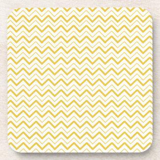 Yellow chevron zigzag stripes zig zag pattern coaster