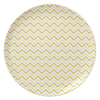 Yellow chevron zigzag stripes zig zag pattern melamine plate
