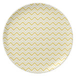 Yellow chevron zigzag stripes zig zag pattern plate