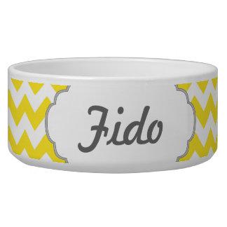 Yellow Chevrons Custom Text Pet Food Bowls