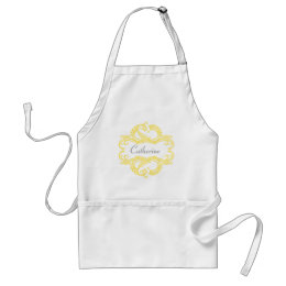 Yellow Chic Damask Apron