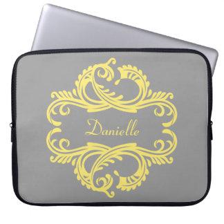 Yellow Chic Damask Laptop Sleeve