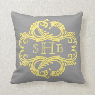 Yellow Chic Damask Monogram Pillow