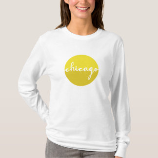 Yellow Chicago circle calligraphy T-Shirt
