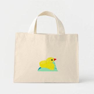 Yellow chick blue hand children grapic kid tote bag